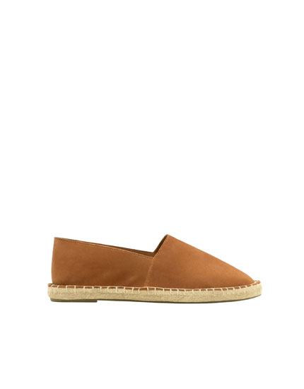 Camel split suede and jute espadrilles