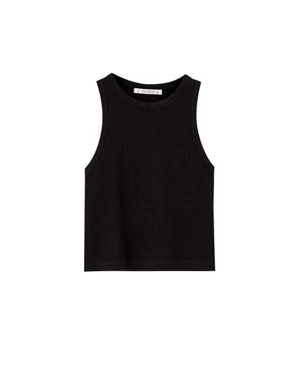 Basic sleeveless cropped T-shirt