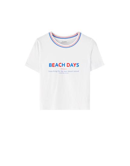 T-Shirt mit Slogan und gestreiftem Patentmuster