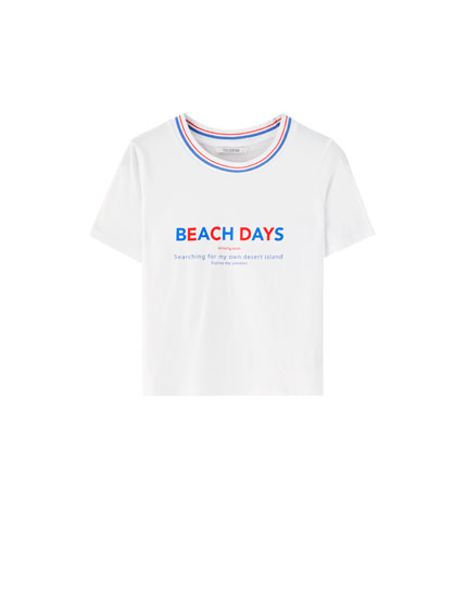 Slogan T-shirt with striped ribbed trim