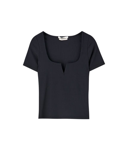 Ribbed square neck T-shirt