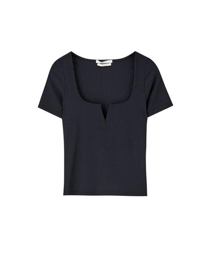 Ribtricot T-shirt met vierkante hals