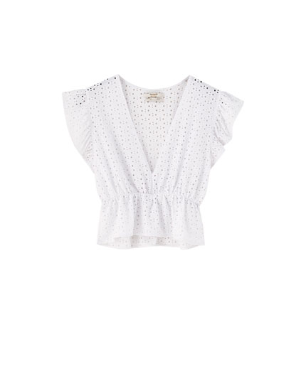 20465ff25076 Κοντό πουκάμισο με γκιπούρ κέντημα - PULL BEAR