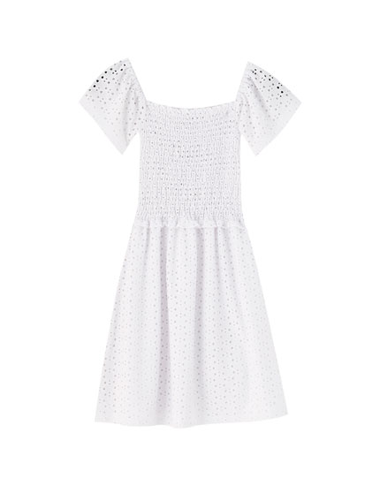 White dress with square-cut neckline