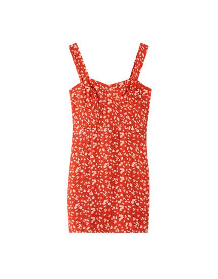 Sukienka mini profilowana w biuście w kwiaty