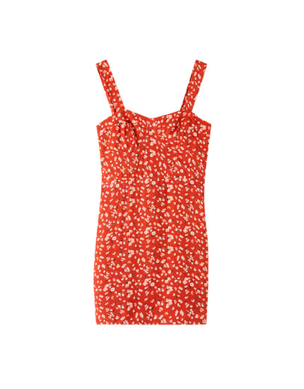 Push-up mini-jurk bloemenprint