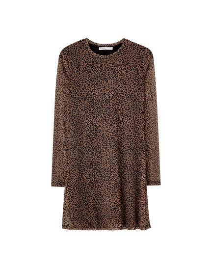 Long sleeve tulle mini dress