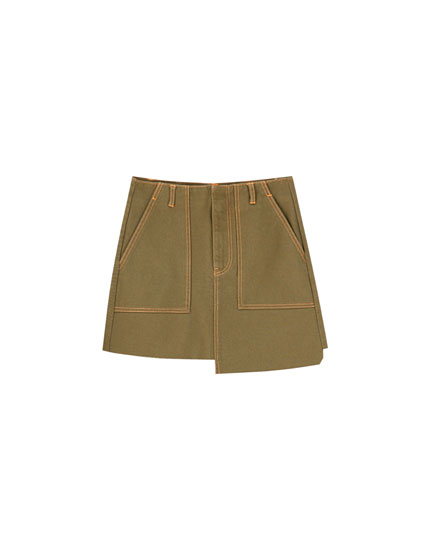 Asymmetric denim mini skirt
