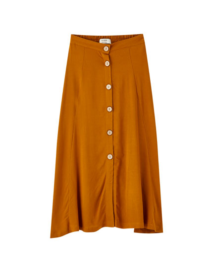 Colourful button-down midi skirt
