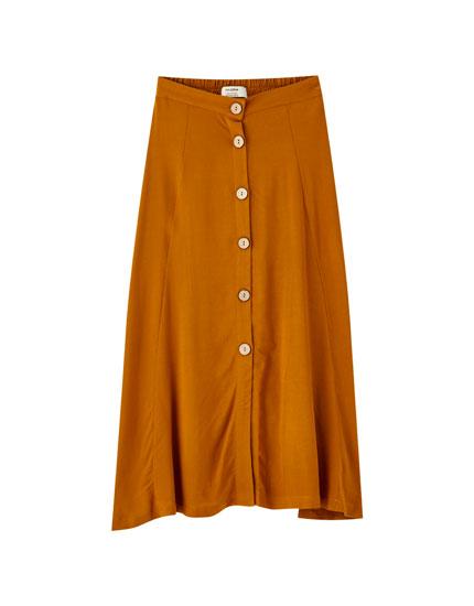 Falda midi color botones