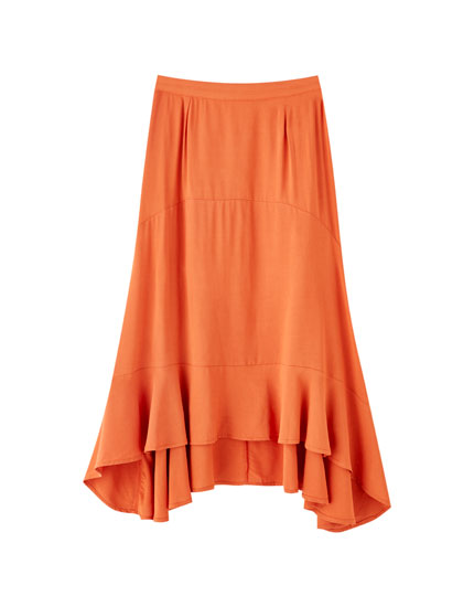 Midi skirt with ruffles