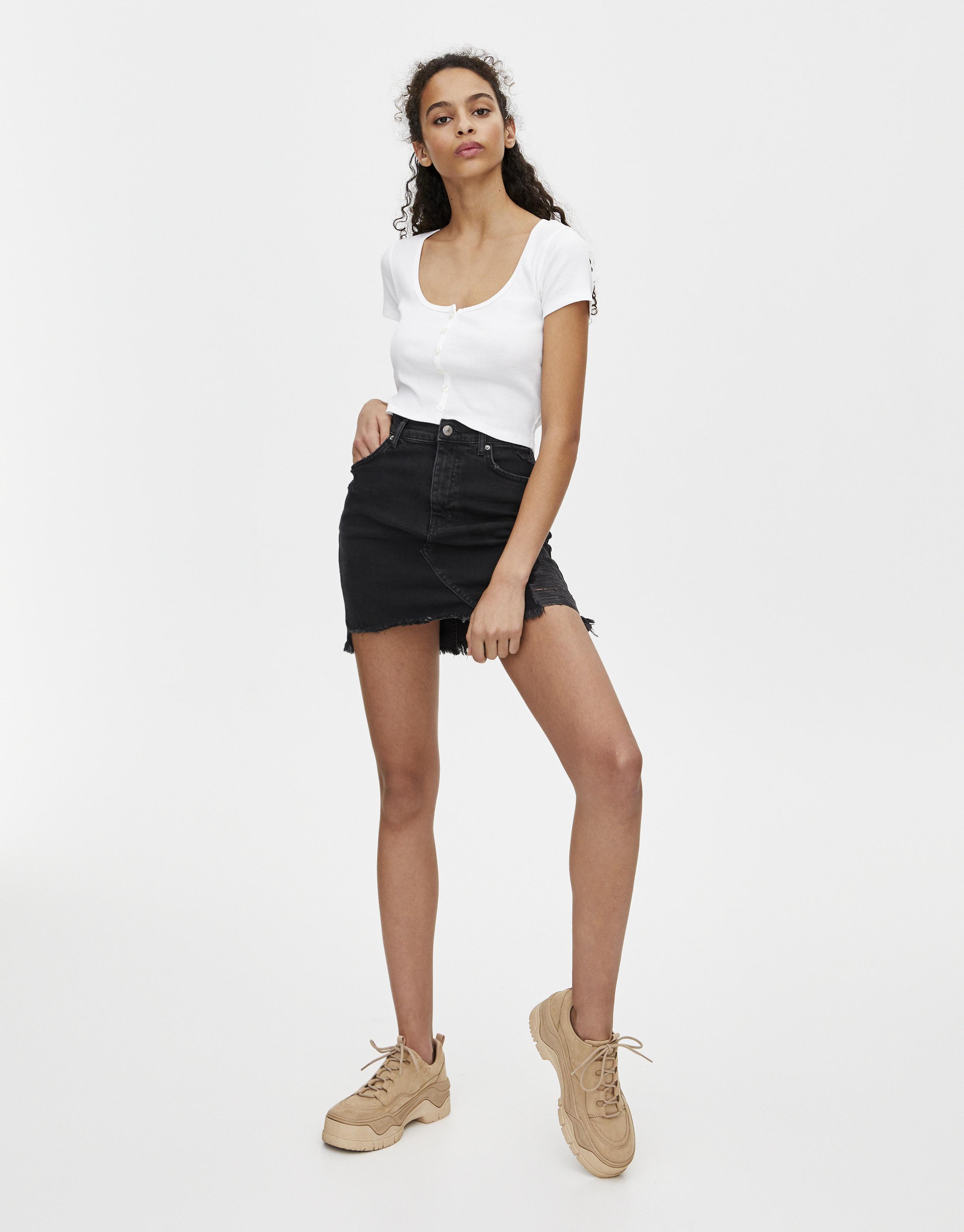Blue Short Mini Skirt Zipped Women/'s Girls High Waist Front /& Back Zip 037