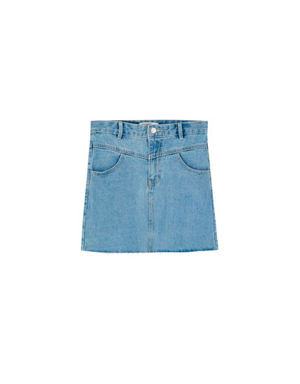 Denim mini skirt with yoke