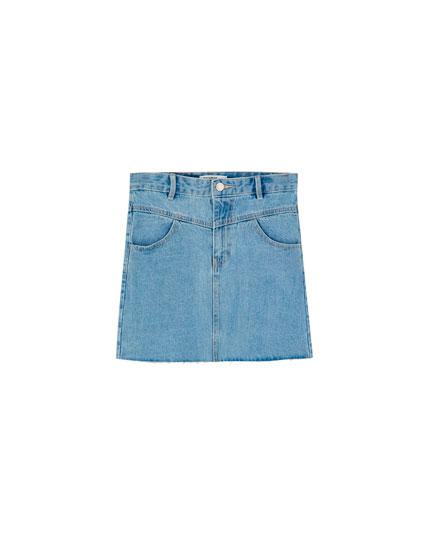Denim mini skirt with yoke
