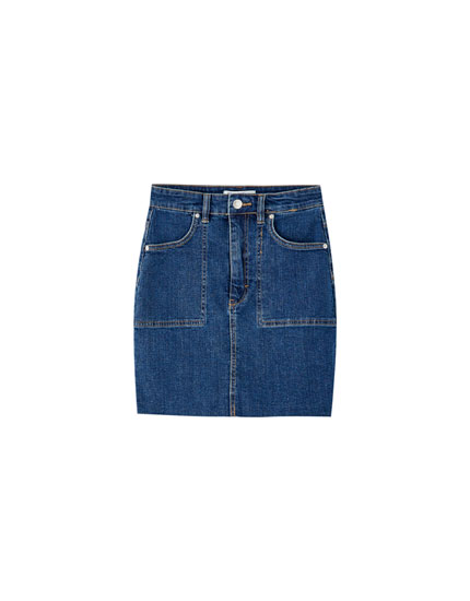 Denim mini skirt with patch pockets