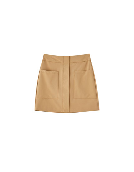 Brown mini skirt with patch pockets