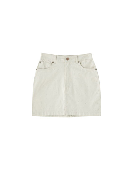 Textured five-pocket mini skirt