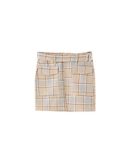 Tailored check mini skirt