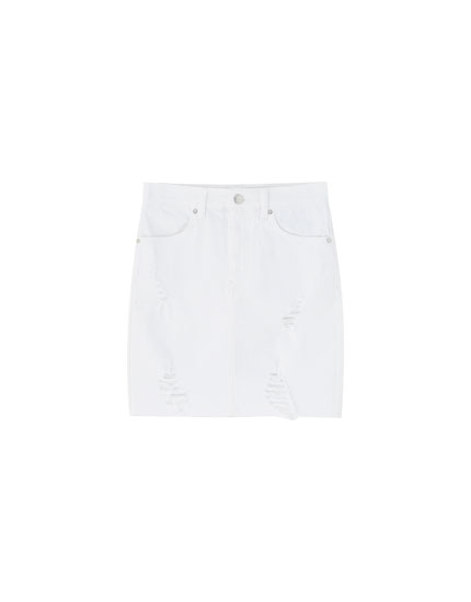 Fitted mini skirt with rips