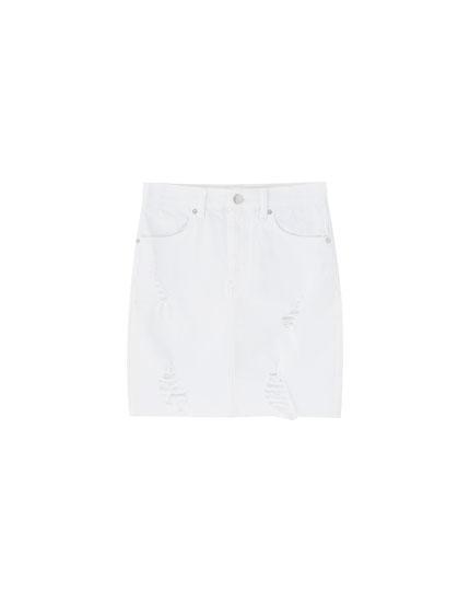 Tætsiddende lårkort nederdel med huller
