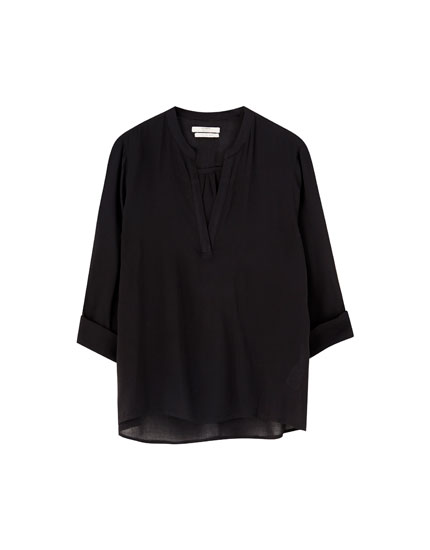 Viscose stand-up collar shirt