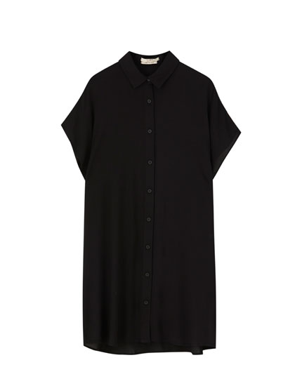 Short black shirt dress