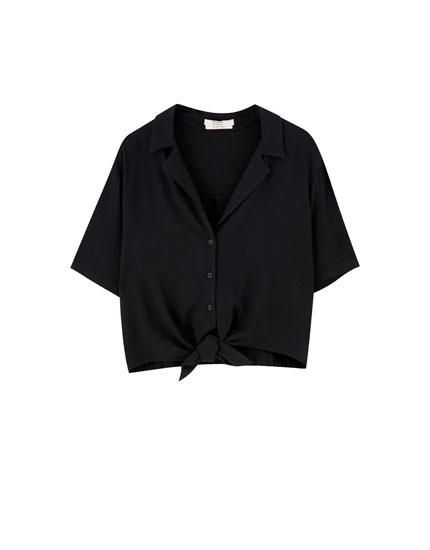 Chemise à manches courtes nœud devant