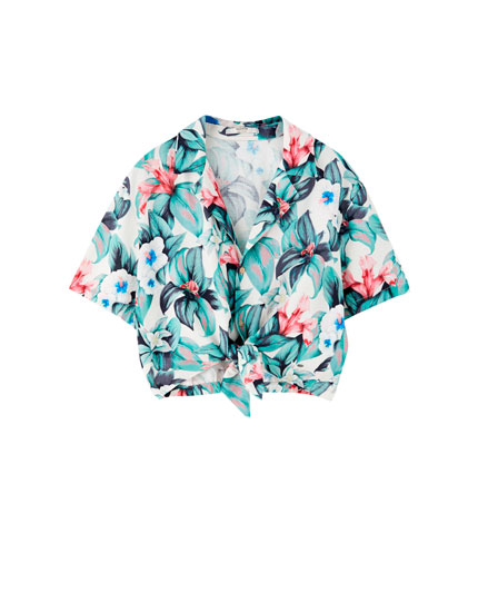 Knotted Hawaiian floral print shirt