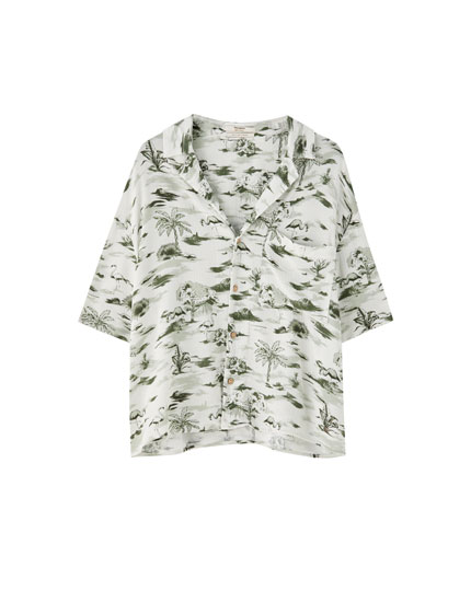 check out the latest in women\u0027s blouses and shirts pull\u0026bearshort sleeve flamingo print shirt
