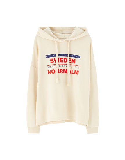 Hoodie with slogan and ribbed trims