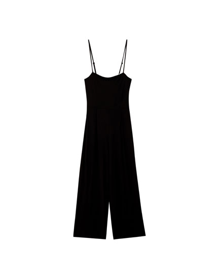 Long culotte jumpsuit with straps