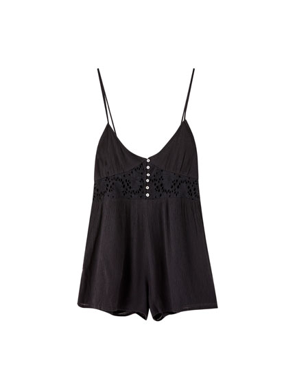 Crochet strappy playsuit