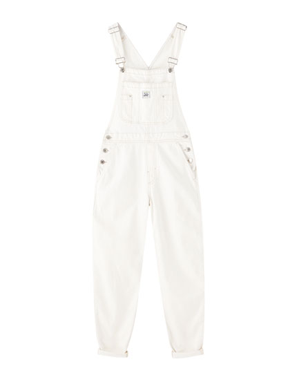 White denim dungarees with pocket