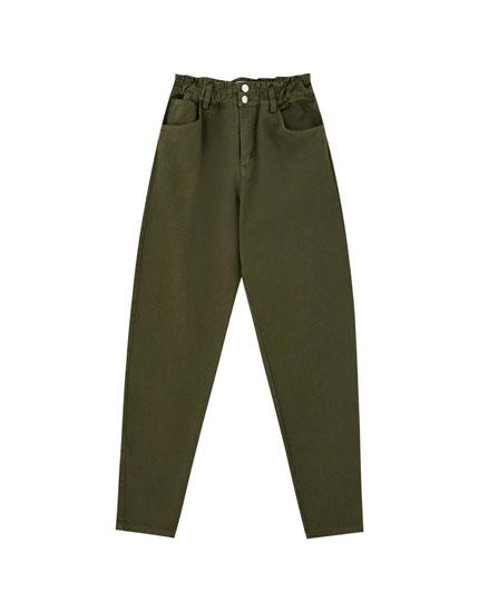 Jeans gaucho taille haute élastique
