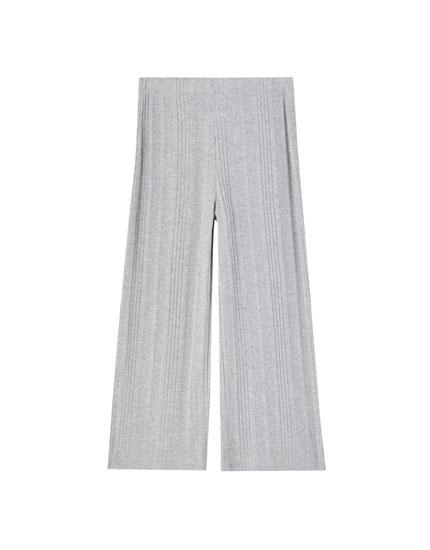Pantalones canalé culotte