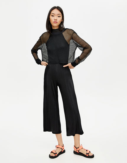 Coloured ribbed culottes