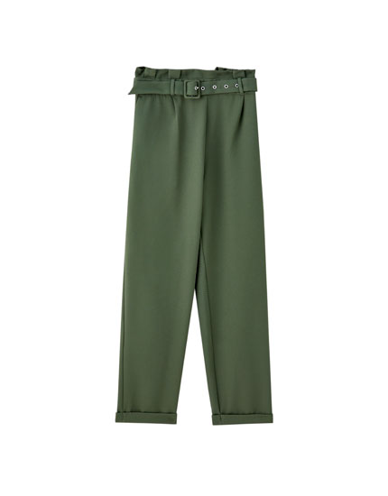 Khaki paperbag trousers with belt
