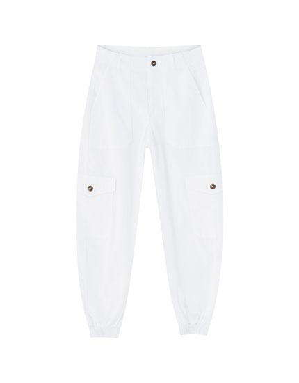 Pantalon cargo couleur chevilles élastiques