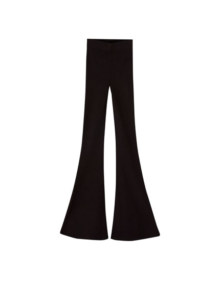 Ribbed stretch bell bottom trousers