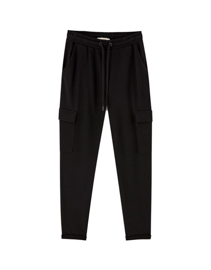 Jogging trousers with turn-up hems