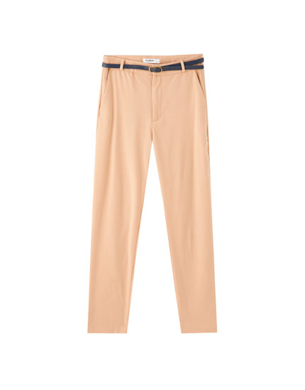 Basic coloured chinos with belt