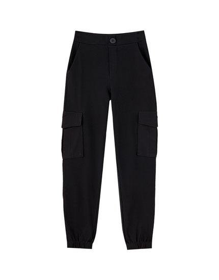 Pantalons de butxaques baixos elàstics colors