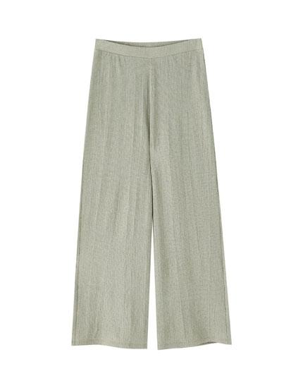 Spodnie culotte z krepy