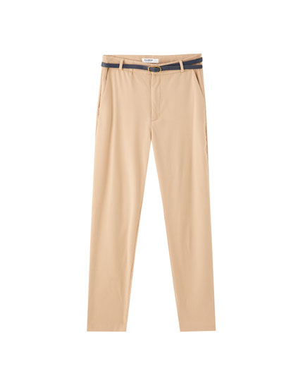 Παντελόνι τσίνο χρωματιστό με ζώνη