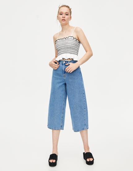 Τζιν παντελόνι wide leg basics