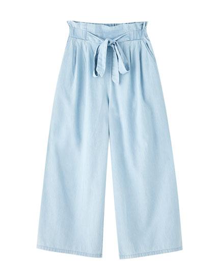 Culotte-Jeans in fließender Passform