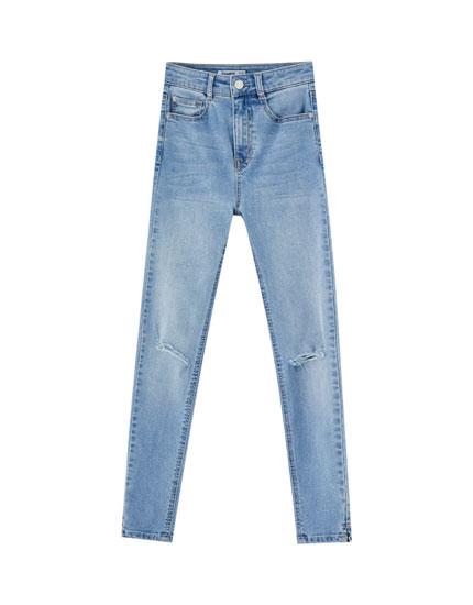 Jeansy skinny fit capri z wysokim stanem