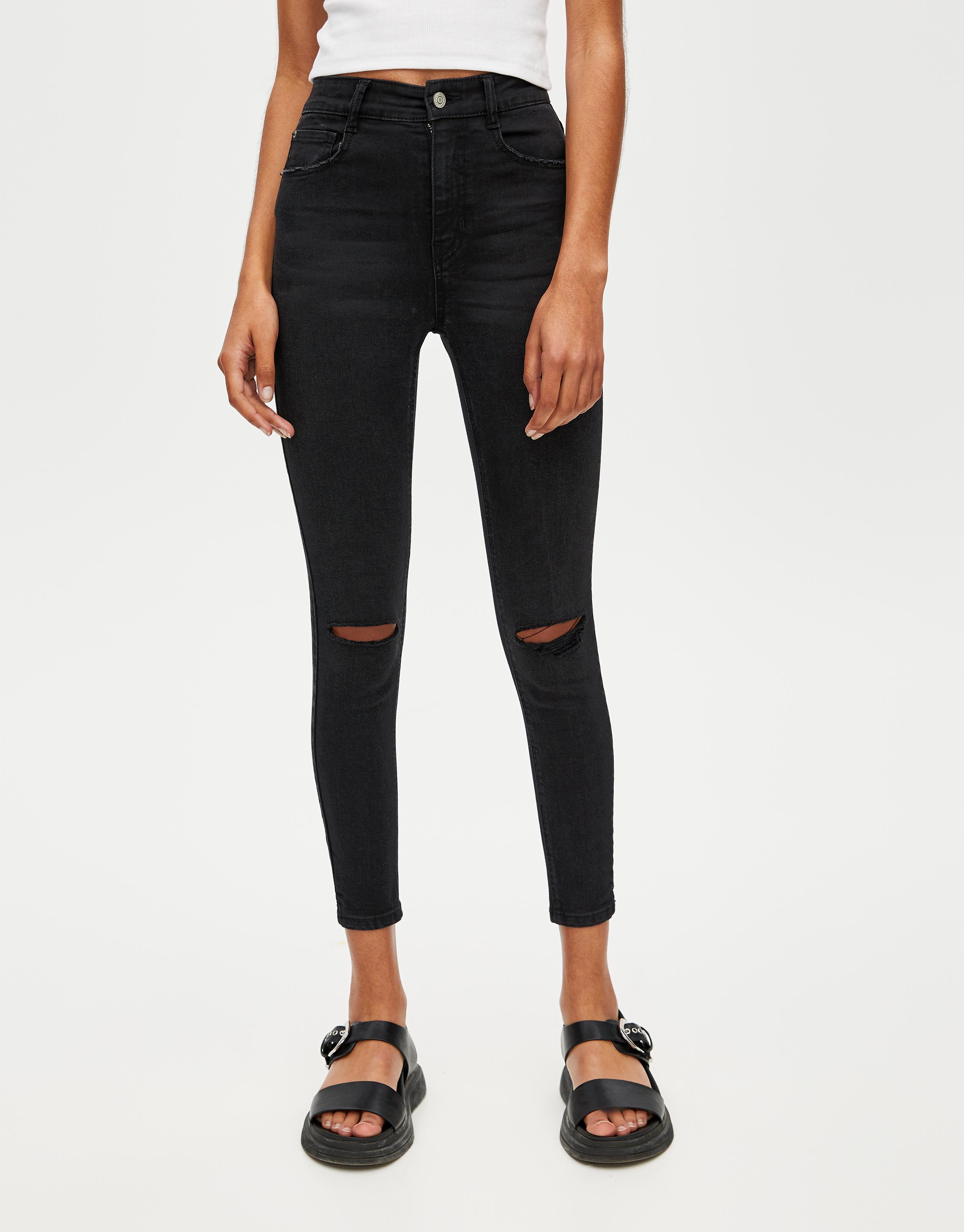 Jeans skinny fit capri a vita alta
