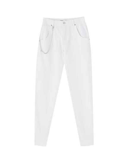 Jeans blanc style gaucho