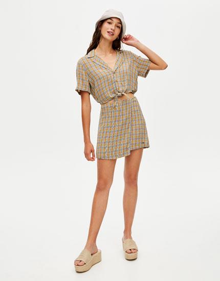 Check sarong skirt